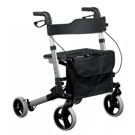 Chodzik aluminiowy, czterokołowy, z torbą i siedziskiem